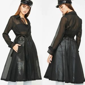 Dolls Kill Sheer Tie Front Trench